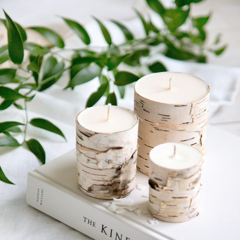 Birch candle for woodland decor made from natural soy wax image 1