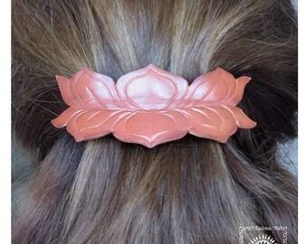 French barrette. Flower hair clip. Flower barrette. Lotus barrette. Lotus hair clip. Leather hair accessories.