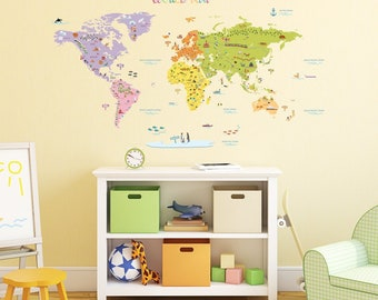 World map decal etsy kids world map wall decals stickers great for the bedroom or classroom gumiabroncs Image collections