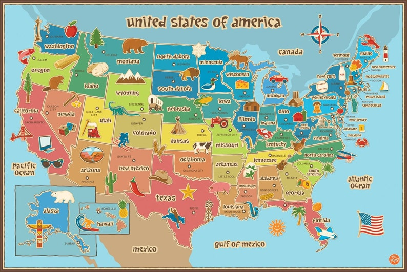 Map Of Georgia For Kids.Kids Map Of America Dry Erase Wall Decal Large 36 X 24 United States Of America