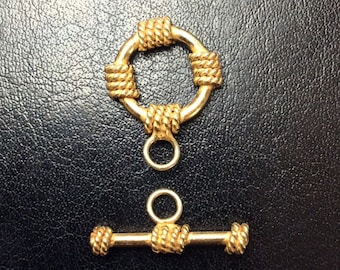Gold Vermeil Rope Accent Toggle Clasp, 15mm