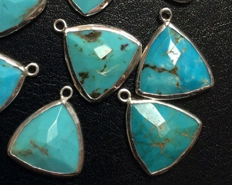 Turquoise Triangle Drop, Sterling Silver Bezel, Earring Component, 16x16x16mm