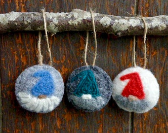 Tomte Gnome Ornaments, Set of Three Needle Felted Wool Ornaments