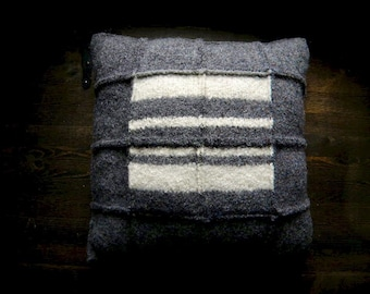 Grey Wool Pillow with Stripes