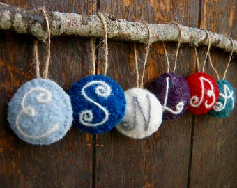 Personalized Initial Felted Wool Christmas Tree Ornament, Made to Order