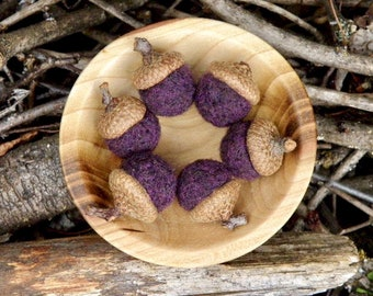 Needle Felted Wool Acorns in Dark Purple, Set of Six, Rustic Decor