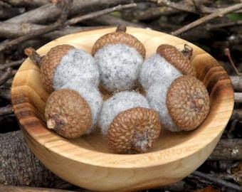 Acorns in Light Grey Wool, Set of Six, Rustic Decor
