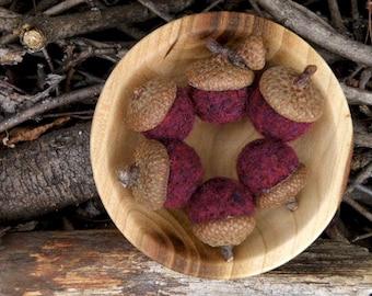 Felted Wool Acorns in Plum, Set of Six, Rustic Decor