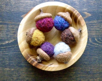 Needle Felted Wool Acorns in Rich Fall Colors, Set of Six, Rustic Decor