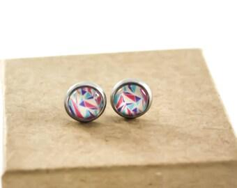 TINY STUDS Earrings - Studs Earrings - Minimalist Jewelry - Glass Earrings - Geometrical Jewelry - Tiny Earrings - White Fuchsia Purple