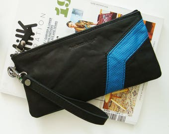 Pouch smartphone pouch leather, black and blue leather case, cabazdesign