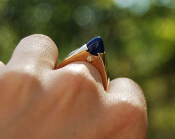 14k Gold, Lapis and Diamond Pyramid Ring