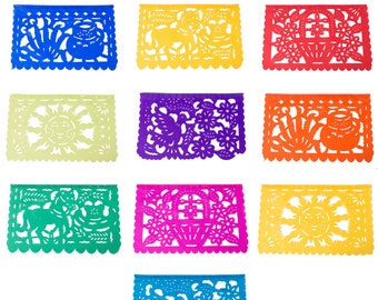 PAPEL PICADO All Occasion Medium | Mexican Bunting | 4.5m / 15ft Colourful Banner with 10 MEDIUM Flags | Fun Party Decor Hung In An Instant