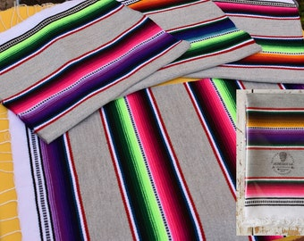 Mexican Placemats Set of 4, Cinco de Mayo Decor, Fiesta Decorations, Serape Placemats, Handwoven With Stylish Gray Base Colour   USA ONLY