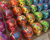 Ceramic Skulls Large x 8, Dia de los Muertos Ceramic Skulls, Skull Decor, Skull Art, Sugar Skulls, Fiesta Decorations Handmade in Mexico