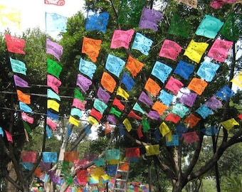 Mexican Papel Picado Banner | 5 meter (16ft) PLASTIC Bunting with 10 Large Flags | Vibrant Handmade Mexican Fiesta Decorations, Party Decor