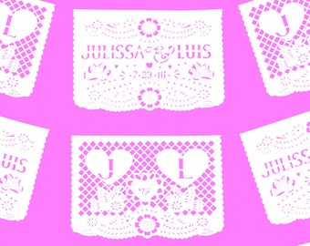 PAPEL PICADO Mexican Wedding 2 Personalised Flags Repeated | Custom Length Bunting Banners | Plus FREE Mini Flags Favours | Made in Mexico
