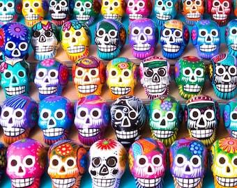 Small Ceramic Skulls x 100   Fiesta Decorations, Wedding Decorations, Restaurant Decorations, Dia de Muertos Sugar Skulls Handmade In Mexico