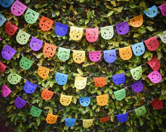 Mini Day of the Dead Bunting Banner   Halloween Party Supplies   1.5m/5ft Long with 10 Mini Colourful Flags   Day of the Dead Decor UK EU