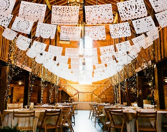 PAPEL PICADO Mexican Wedding | 5m 16ft Bunting Banners Flags White Paper | Dreamy Folkey Wedding Decor | Made in Mexico Sold from UK