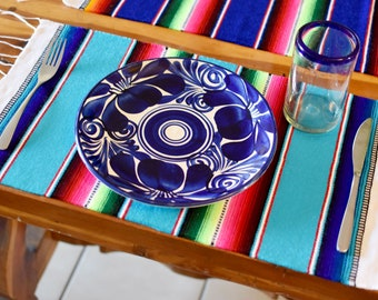 Set of 4 Mexican Sarape Placemats Vibrant Table Decor For Everyday Use, a Vibey Fiesta, or Gift. SET B Lt Blue, Dk Blue, Lilac &Red USA ONLY