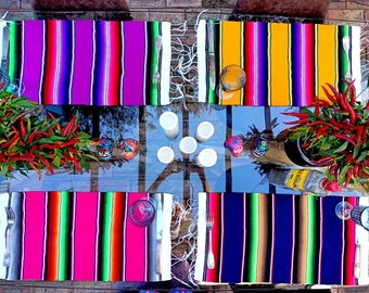 Set of 4 Mexican Sarape Placemats Vibrant Table Decor For Everyday Use or a Vibey Fiesta, SET Y: Yellow, Purple, Fuschia, Dk Blue   USA ONLY