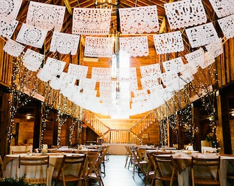 PAPEL PICADO Mexican Wedding Personalised in White | Custom Length Bunting Banners Plus Free Favours | Handmade in Mexico