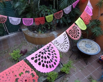 PAPEL PICADO Coral Collection | Mexican Bunting Banners Flags Party Decor 5m | Red, Fuschia, Rose, Coral, Yellow | Handmade in Mexico