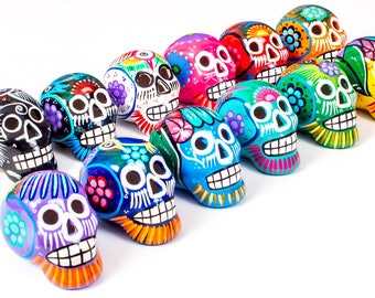 Small Ceramic Skull Beautifully Hand-painted With Love In Mexico By Traditional Huichol Artist   Day of the Dead Sugar Skull Decor UK EU