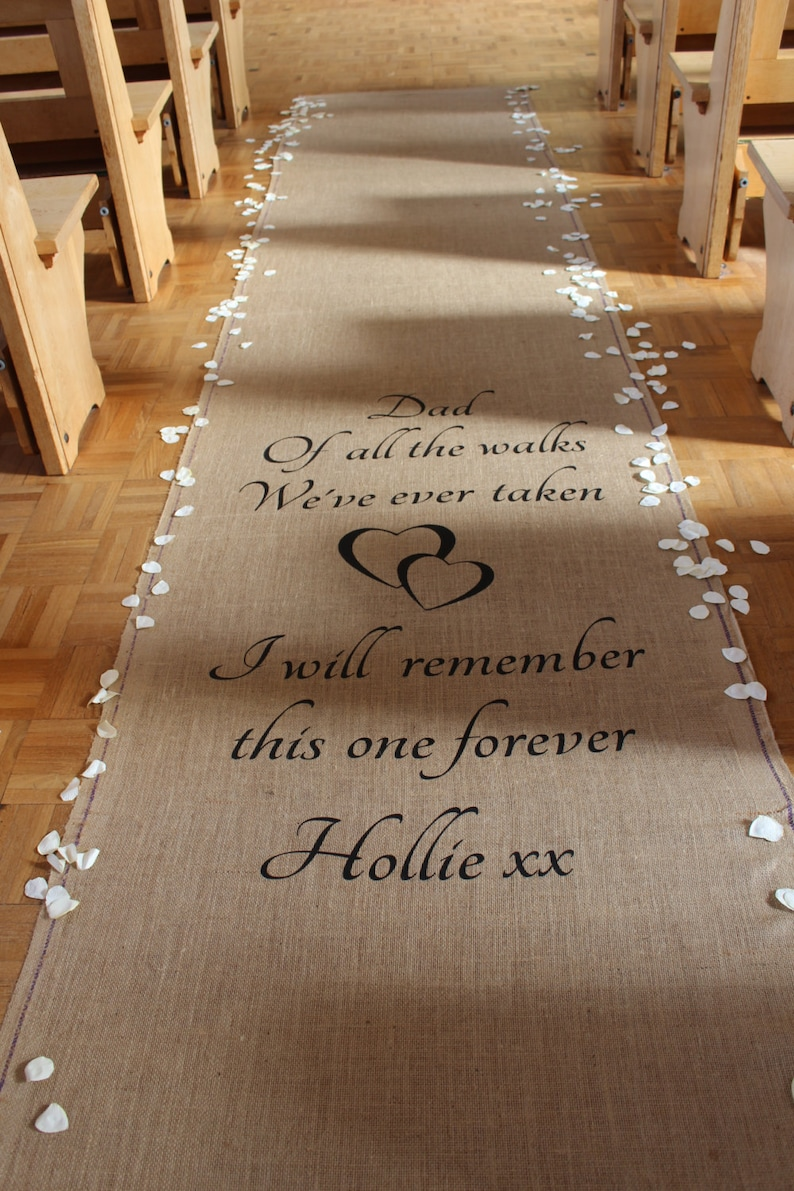 Personalised Hessian Aisle Runner image 0