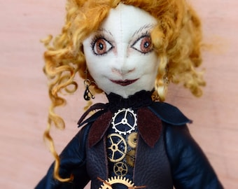 Steampunk Art Doll Gothic Victorian Collectible Fabric Craft