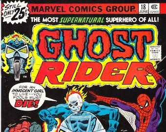 Ghost Rider 18 comic, Spiderman book. Motorcycle, Black Widow, Hercules, Angel, Iceman, Champions art.  1976 Marvel Comics in VFNM (9.0)
