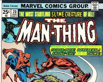 The Man-Thing 20, Spiderman, Daredevil, Master of Kung-Fu comic, Swamp, Adventure into Fear art. 1974 Marvel Comics in VF+ (8.5)