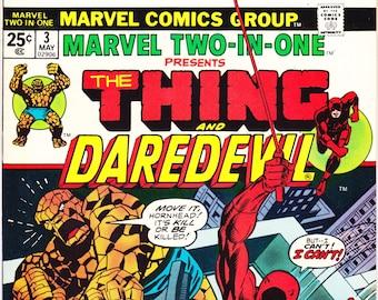 Marvel Two In One 3, Daredevil comic, Bronze Age book, 1974, VFNM (9.0)