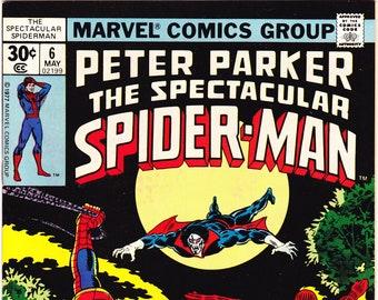 Morbius, Peter Parker, Spectacular Spider-man 6 comic book. 1977 Marvel, VFNM (9.0)