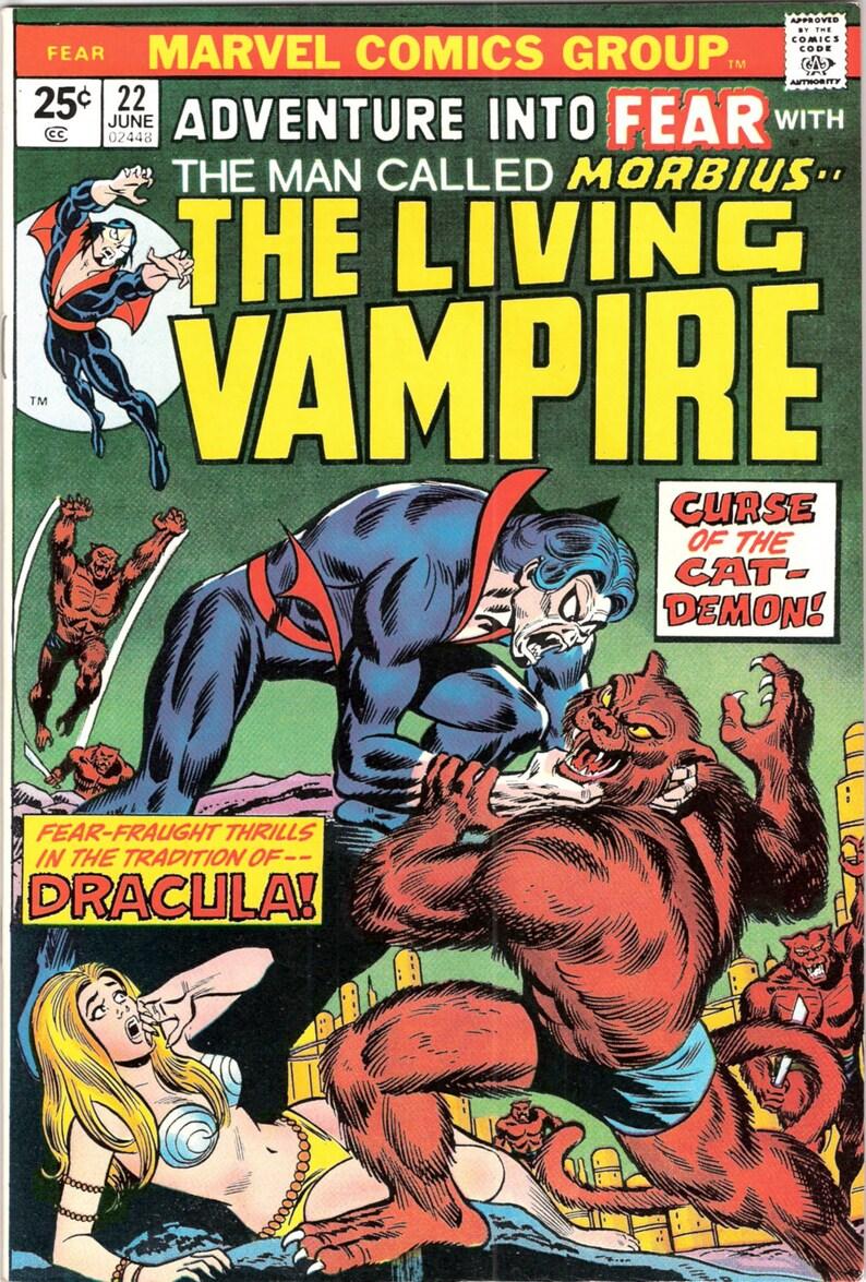 Adventure Into FEAR 22 comics, Morbius Vampire, Horror books  1974 Marvel,  NM- (9 2)