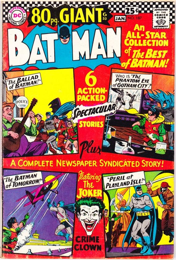 Batman 187 Joker Comic Vintage Silver Age Books 1966 Dc Vgfn 5 0