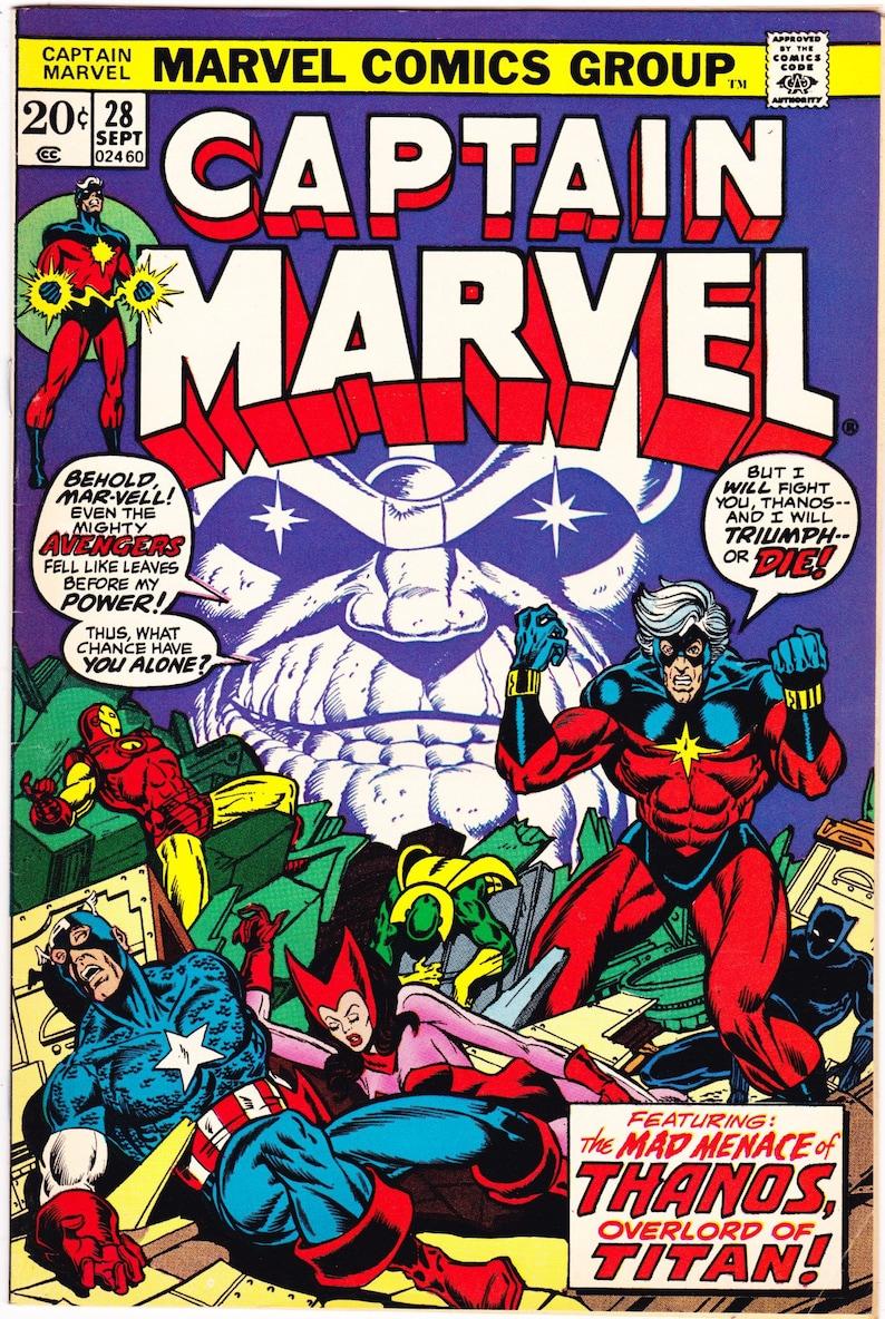 captain marvel vol 1 28 thanos avengers book. 1973 marvel | etsy