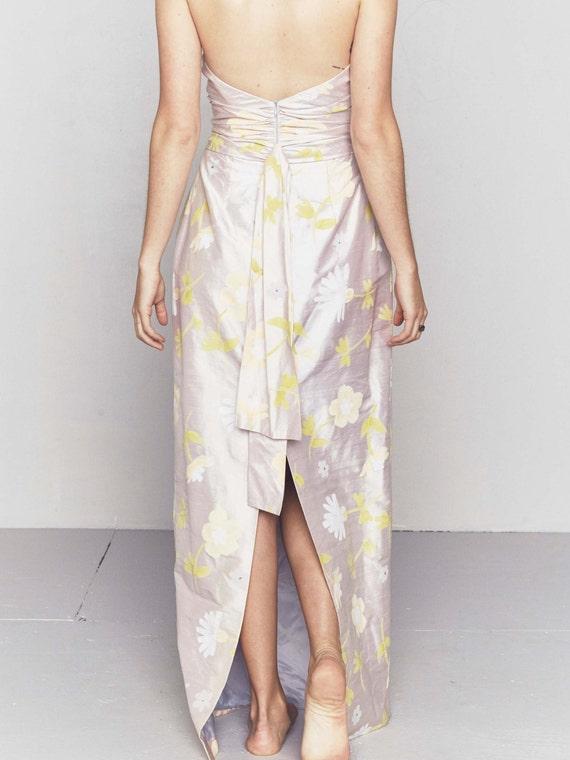 1990s Vintage Dupioni Silk Wedding Gown | Handpai… - image 1