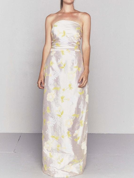 1990s Vintage Dupioni Silk Wedding Gown | Handpai… - image 2