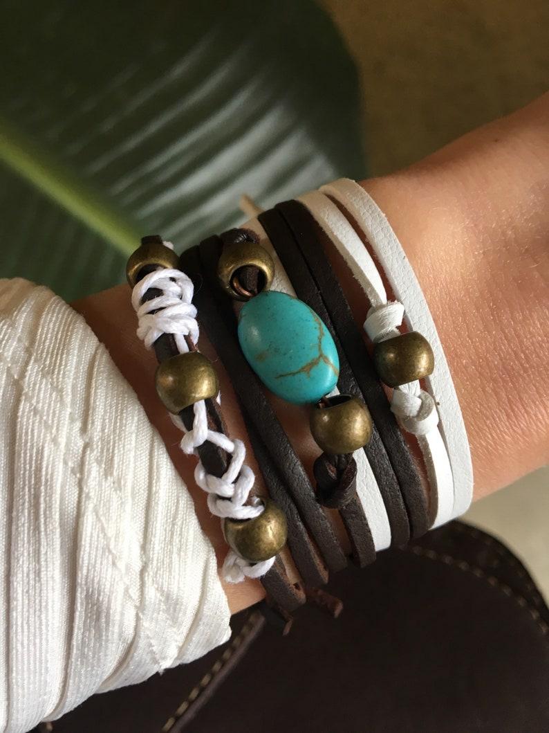 Turquoise wrap bracelets Tribal jewelry boho bracelets Turquoise leather bracelets Bohemian bracelets Moho Boho turquoise bracelets