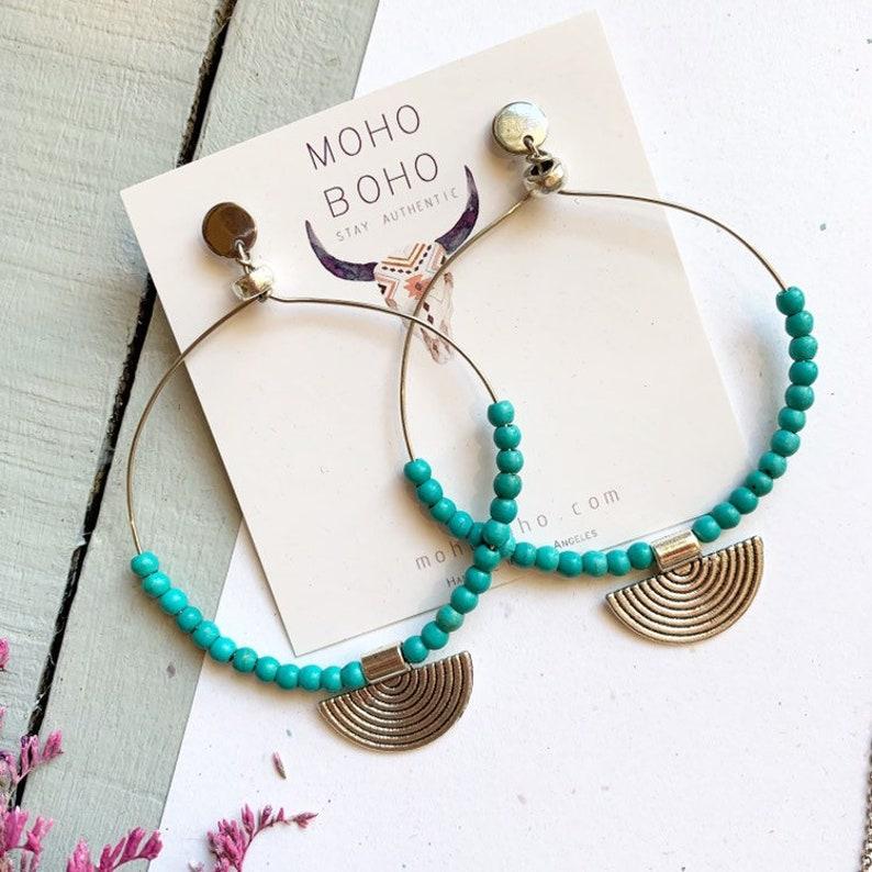 Moho Boho turquoise jewelry hoop boho earrings gift for her festival jewelry Turquoise earrings bohemian earrings gypsy earrings