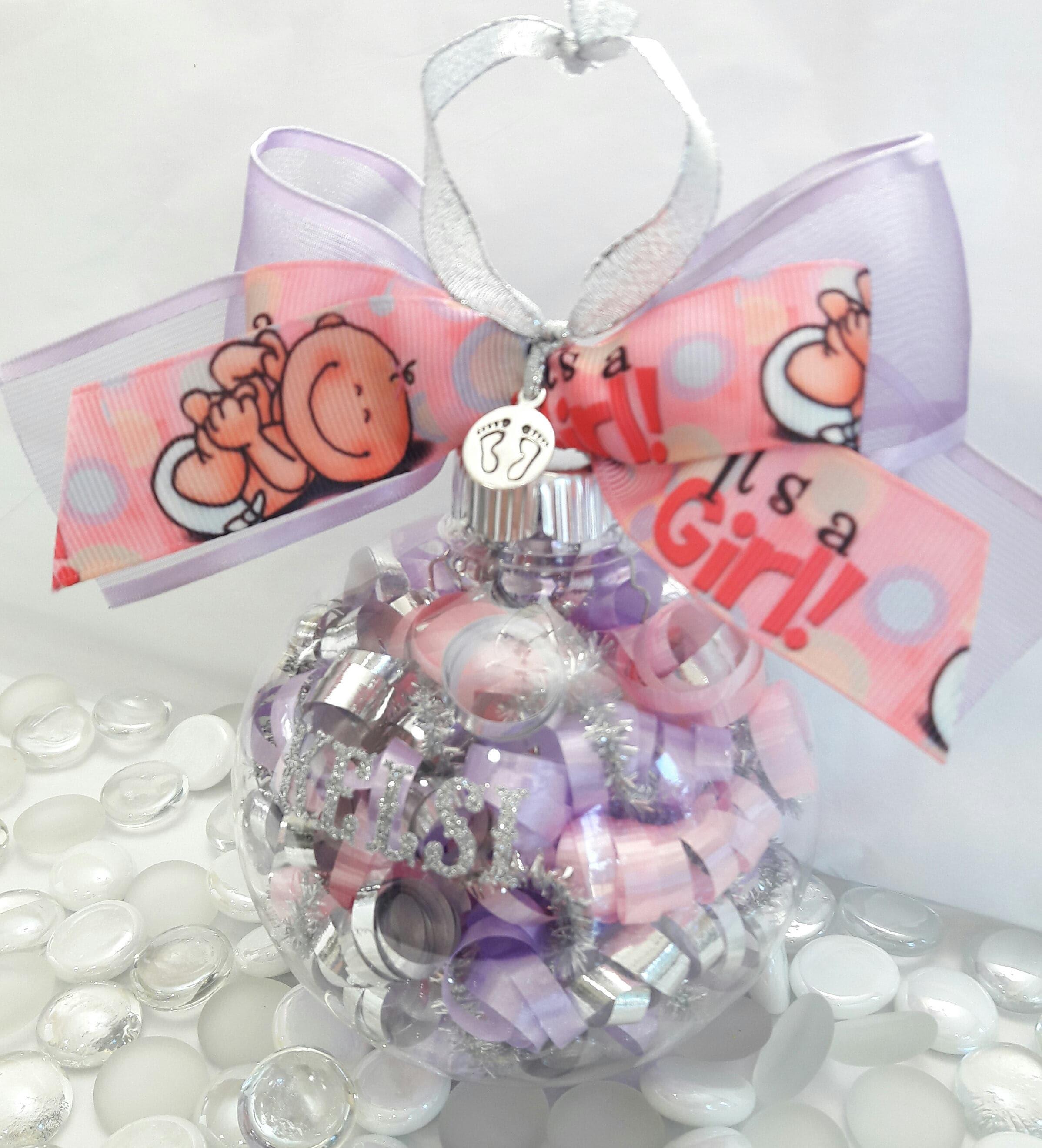 Baby Girl Christening Favors Glass Ornament: Personalized It's A Girl Glass Ornament Baby Reveal Baby