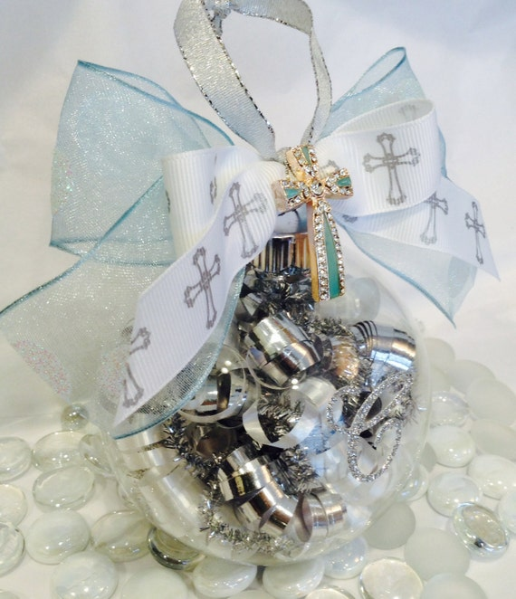 Baptism Ornament Personalized Christmas Ornament Christening: Personalized Baptism Cross Glass Ornament Christening Holy