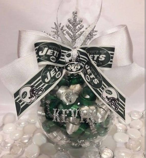 Personalized New York Jets Glass Ornament  84ecfc025