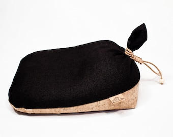 Original Irish Meditation Cushion Hand Made in Ireland Organic Hemp Cork Buckwheat Wooden Beads Black