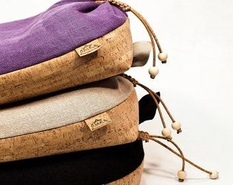 Original Irish Meditation Cushion Hand Made in Ireland Organic Hemp Cork Buckwheat Wooden Beads Purple Violet