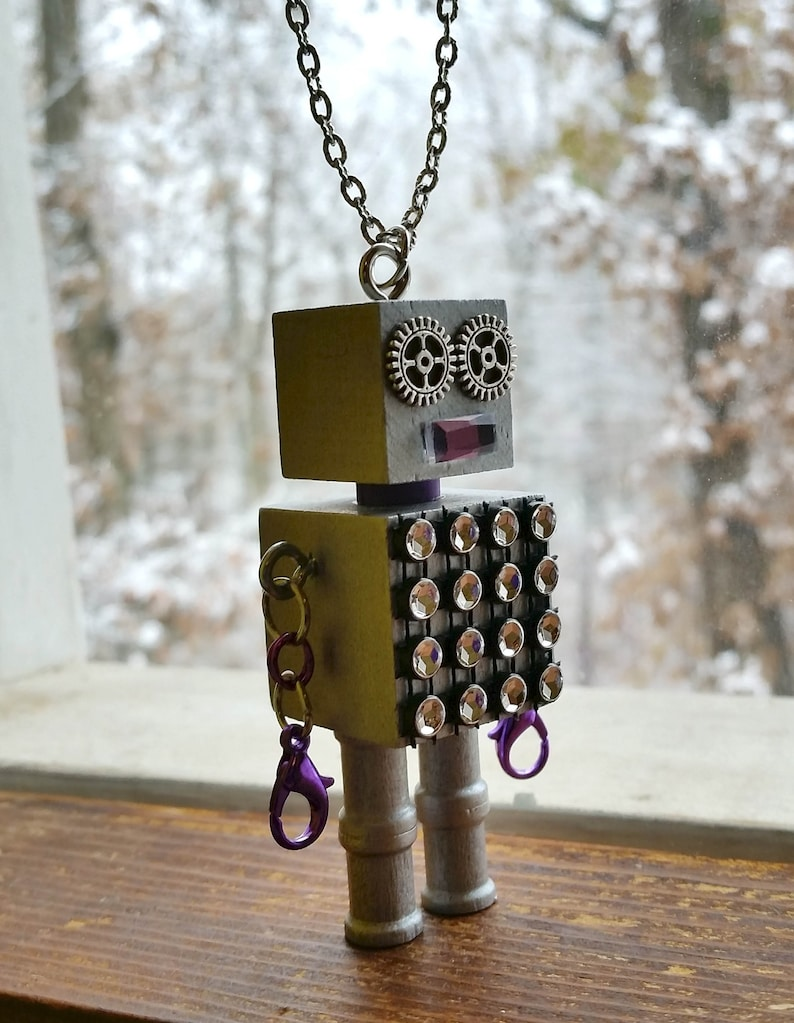 Block cube style fun Robot pendant necklace with chain Unisex cool jewelry steampunk