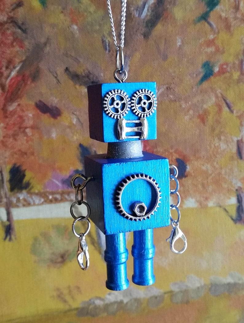 Metallic Cobalt Blue Fashion Steampunk Robot Pendant Ornament Jewelry –  Model name Cosmic Cobalt