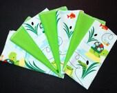 Child Handkerchiefs, Set of 7, Child Prints Flannel Handkerchiefs, Reusable Tissues,Paperless Hankies, Unisex Hankies,Lunchbox Napkins CH512